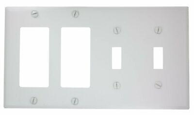 Leviton P2262-W 4-Gang 2-Toggle Decora/GFCI Device Combination Wallplate, Dev...