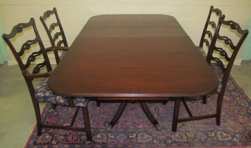 5 PIECE CHIPPENDALE ANTIQUE STYLE MAHOGANY DINING ROOM SET ~ CHARAK FURNITURE CO