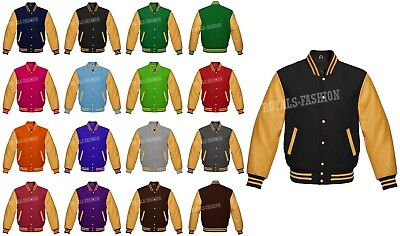 Varsity Letterman Baseball wool and Genuine Gold Leather Sleeves Superb -