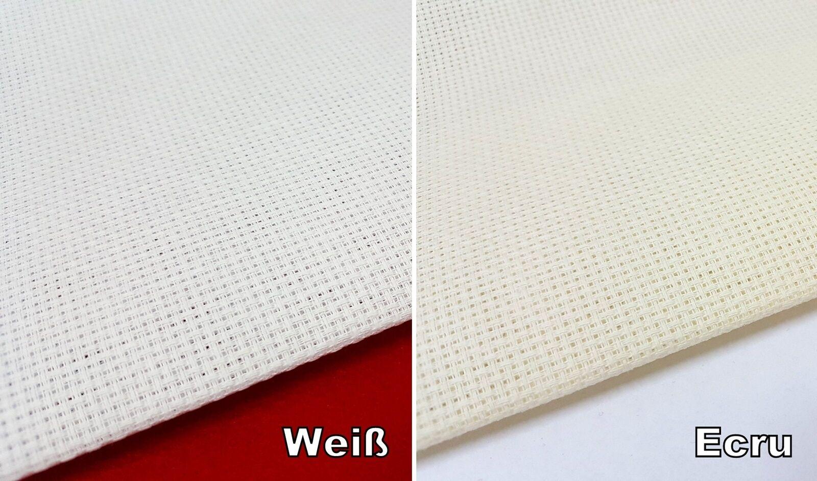 Aida Stickstoff 4,4 Stiche/cm weiß  ecru  160 cm breit Meterware 19,75 €/m