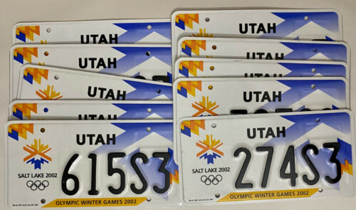 Lot of 10 - UTAH Salt Lake City 2002 Winter Olympics License Plate - UT