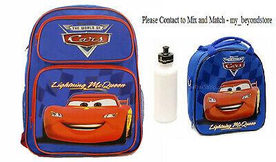 Disney Pixar Cars McQueen Large School Blue Rolling Backpack Lunch Bag Bottle