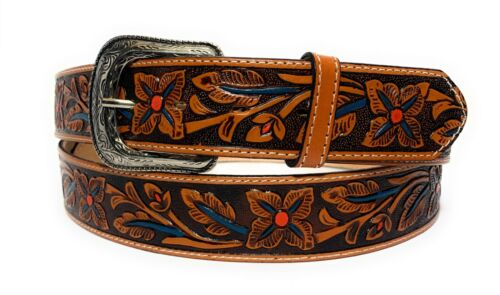 """1 3/4"""" Western Leather Belt. Cowboy Rodeo Casual Leather Floral Embossed Belt"""