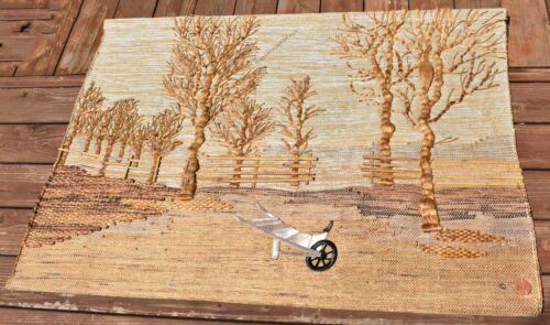 vtg Don Freedman Large trees country side Fiber Art Wall Hanging tapestry MCM