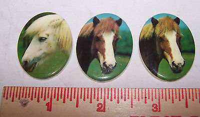 3 Vintage HORSE Decorative Medallions for Crafts Art Jewelry PONY