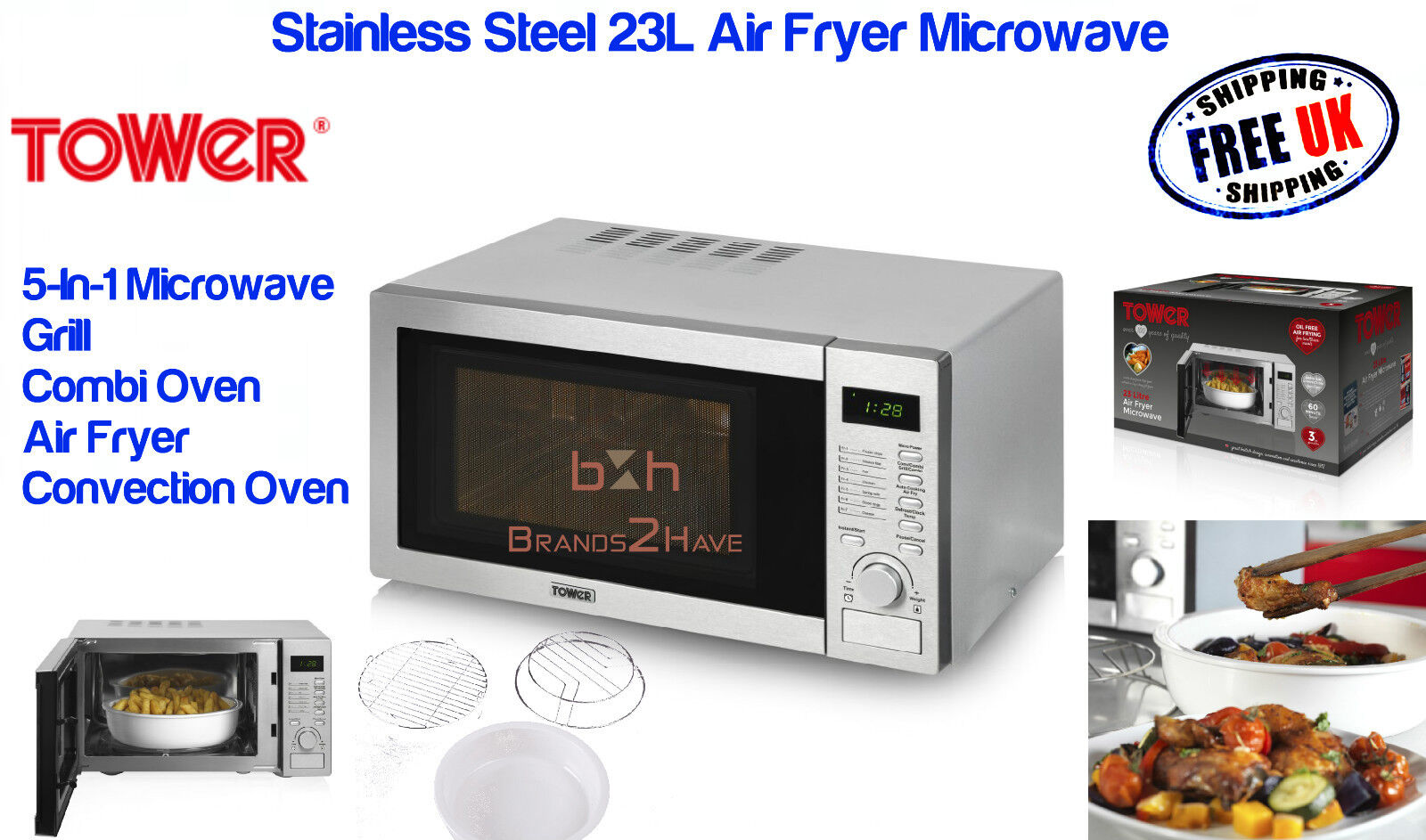 Tower 23l Multi Function Stainless Sl Air Fryer Microwave