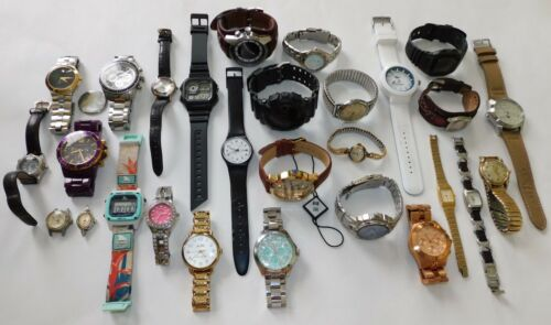 LOT Of 28 Watches AS IS Michael Kors, Movado, Fossil, Casio, Hook+Gaff, Shark