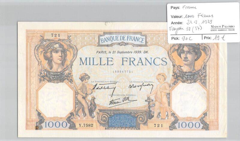Ticket France - 1000 Francs - 21.9.1939