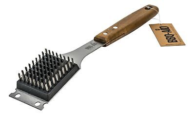 Barbecue Grill Brush And Scraper Extended Large Wooden Handle And Stainless