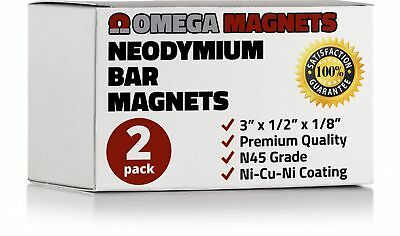 Strong Neodymium Bar Magnets 2 Pack - Powerful Rectangular Rare Earth Magn...