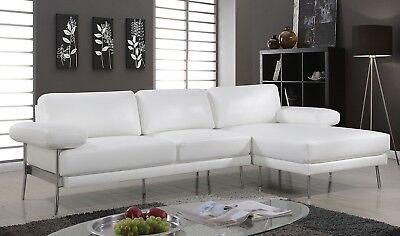 - Leatherette White Sectional Chaise Sofa Cushion Pillow Arms Metal Legs Couch