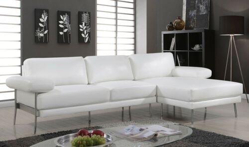 Leatherette White Sectional Chaise Sofa Cushion Pillow Arms Metal Legs Couch