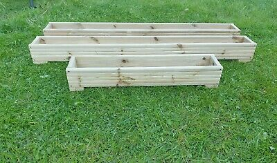 high standard wooden decking planter boxes garden patio 120cm x 15cm x 17cm