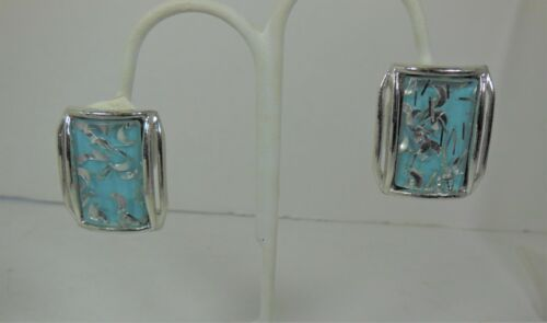 Vintage Silver Tone & Teal Confetti Lucite Clip on Earrings