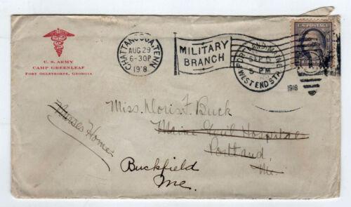 1918 WWI COVER US Army Camp Greenleaf FORT OGLETHORPE Georgia MILITARY Maine