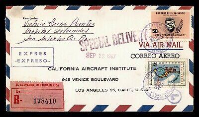DR WHO 1967 EL SALVADOR SPECIAL DELIVERY REGISTERED JOHN F KENNEDY JFK  g20291