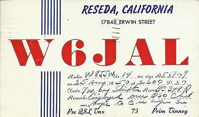 OLD VINTAGE W6JAL RESEDA CALIFORNIA USA AMATEUR RADIO QSL CARD