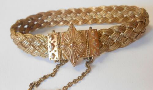 """Victorian 14K Woven Braid Yellow Gold Wide Bracelet 6.5"""" Ornate Etruscan Clasp"""