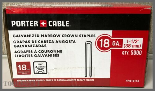 "Porter Cable® PNS18150 18 Gauge 1-1/2"" Narrow Crown Staple - Box of 5000!"