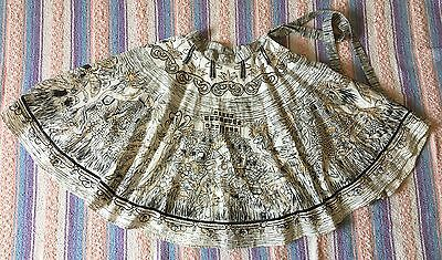 Vintage 1950's Mayan Pyramids Mexican Tribal Full Circle Skirt, Size 6