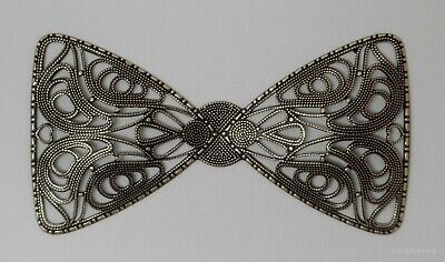 #3408 ANTIQUED GOLD OPEN FILIGREE BOW TIE BARRETTE COMPONENT - 1 Pc Lot - Gold Filigree Bow