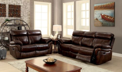 Modern Top Grain Leather Match Brown Reclining Sofa Loveseat 2pc Set Living Room