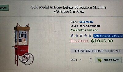 Gold Medal Antique Deluxe 60 Popcorn Machine With Cart - 6 Oz Kettle