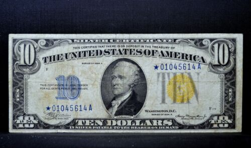 1934-A $10 NORTH AFRICA STAR NOTE ✪ VF VERY FINE ✪ SILVER CERTIFICATE ◢TRUSTED◣