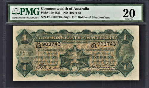 Australia KGV One Pound 1927 Riddle-Heathershaw Pick-16c Very Fine PMG 20