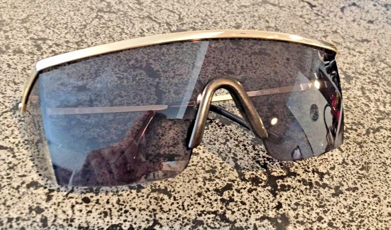 Stylish Retro Wrap Around Safety Glasses Gold Frame Grey Len