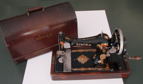 1922 Singer Sewing Machine Model 128, Hand Crank, Bentwood Case, Accessories