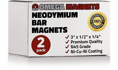 Strong Neodymium Bar Magnets 2 Pack - Powerful Rectangular Rare Earth Magn...