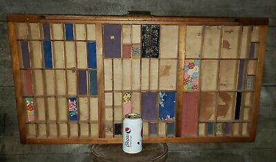 Antique Hamilton Printers Type Set Cabinet Wood Tray Display Shadowbox. 32