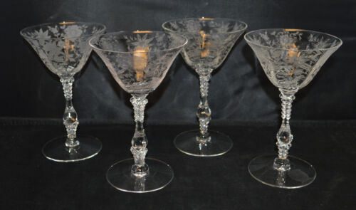 4 Cambridge Wildflower Champagne / Tall Sherbets  - Very Nice