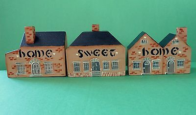 """Hand-painted Wooden Block 4"""" Buildings """"Home Sweet Home"""""""
