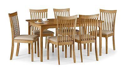 Julian Bowen Ibsen Light Oak Wood Extendable Dining Table & 6 Solid Chairs