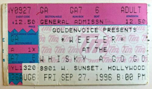 1996 Weezer Ticket Stub 9/27/96 Pinkerton - Whisky a Go Go - Los Angeles, Ca.