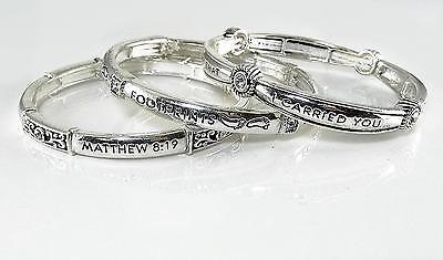 3 Bangle Bracelets Crystal Inspiration Footprints Silver Stretch - Message Bracelets