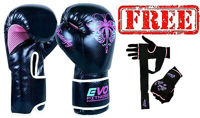 Evo Fitness Ladies Pink GEL Boxing Gloves MMA Punch Bag Leather Sparring - Pink Boxing Gloves