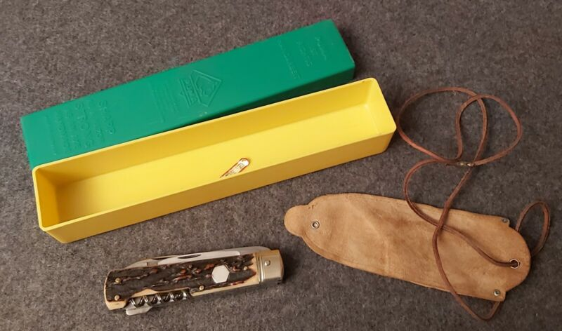 PUMA KNIFE 959 STAG WITH LEATHER POUCH & GREEN/YELLOW BOX 1970