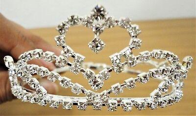 Silver Crystal Tiara Flower Girl MINI Crown Wedding Prom Pageant CKS-004