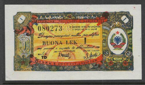 Albania 1953 1 Leke Foreign Exchange Note  P-FX4 AU