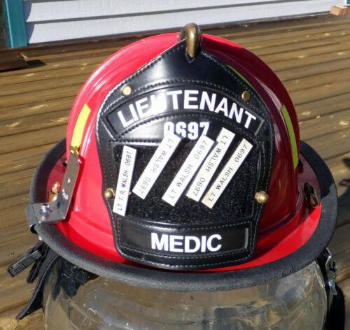 Red Seattle Fire Dept Lieutenant Medic TR Walsh 0697 Fireman Helmet Brass Eagle