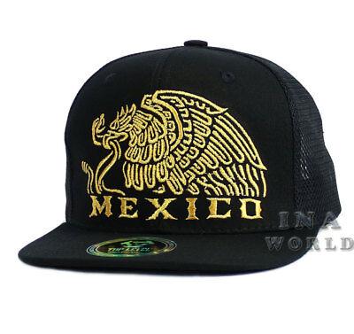 MEXICAN hat MEXICO Eagle Federal Logo Mesh Snapback Flat bill Baseball cap-Black