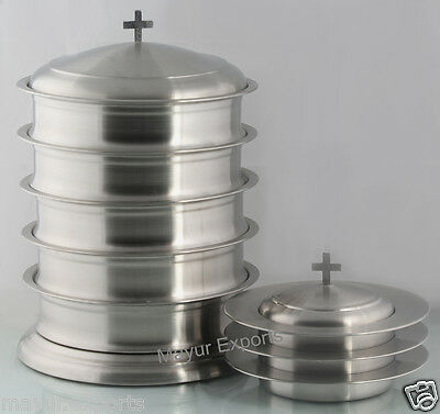 Stainless Steel 5 Communion Tray With Base And Lid And 3 Bread Trays With Lid