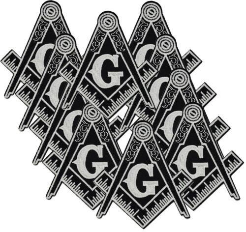 """10 PCS 4"""" LARGE BLACK Masonic Embroidered PATCH Iron-on Square & Compass Badge"""