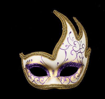 Mask from Venice Colombine Swan Mystere Purple Golden Gala 1061 V51