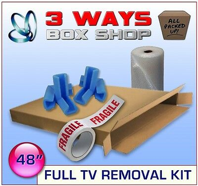 48 inch LCD Plasma Cardboard Removal Box - FULL PROTECTION KIT Bubble Wrap