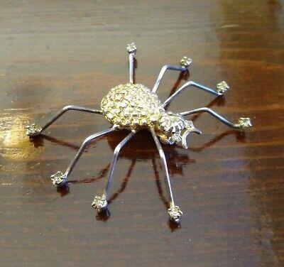 "Vintage SPIDER Silvertone Rhinestone PIN BROOCH 2"" Halloween"