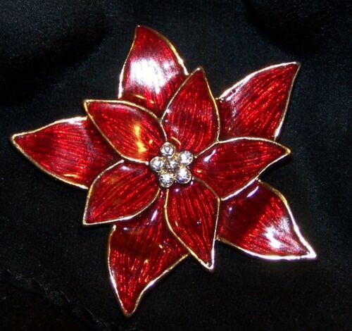 Eisenberg Ice Christmas Pin Brooch-Poinsettia Enamel Rhinestones-Signed-Estate